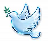 stock photo of olive branch  - Digital illustration of dove in flight with olive branch - JPG
