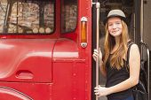 pic of truck farm  - Young cute girl in hat near the truck - JPG