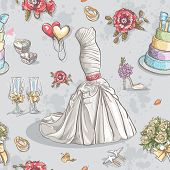 Seamless texture with the image of wedding dresses glasses rings cake and other items.