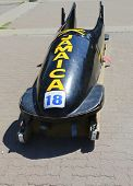 Jamaican Bobsleigh Team bob used during XV Winter Olympic Games located at Canada Olympic Park