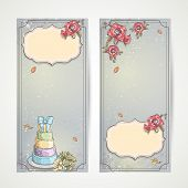 Set of vertical banners wedding invitations with red poppies cake and a bouquet of roses