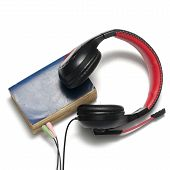 Head Phone With Book Concept Audio Book