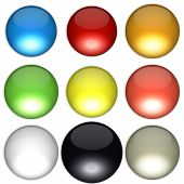 Colored balls arranged according to feng shui bagua diagram