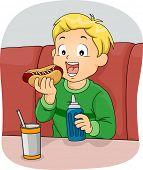 Illustration Featuring a Boy Eating a Hotdog Sandwich