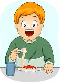 Illustration Featuring a Boy Eating Spaghetti