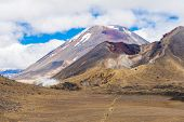 Mount Ngauruhoe is a famous stratovolcano in a Tongariro national park, New Zealand