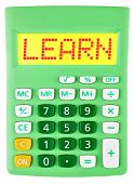 Calculator With Learn On Display Isolated