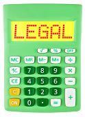 Calculator With Legal On Display Isolated