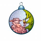 Vector illustration of fur-tree toy with funny sheep