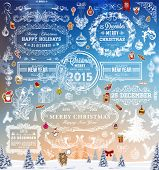Hand Drawn Christmas And New Year Decoration Set Of Calligraphic And Typographic Designs, Labels and Elements. Symbols And Icons Collection for Holiday Greeting Cards, Banners, Posters and Placards