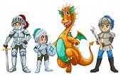 image of knights  - Knights and a dragon on white - JPG