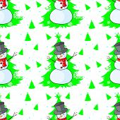 Seamless design for christmas with a snowman on a white background