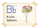 A letter B for balloons on a white background