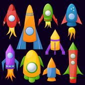 Cartoon rockets 3D vector illustration set