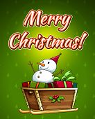 Merry Christmas design card with snowman