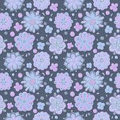 blue doodle flowers seamless pattern
