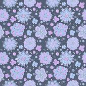 blue doodle flowers seamless pattern