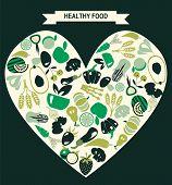 Healthy Food Icons Set , Restaurant Icons - Illustration