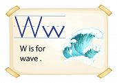 A letter W for wave on a white background