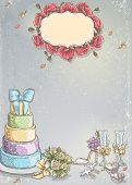 Wedding invitation with a picture of wedding items cake wine glasses a bouquet of roses doves.