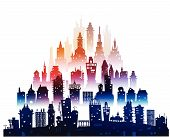 City background made of building silhouettes