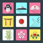 flat japan icons set