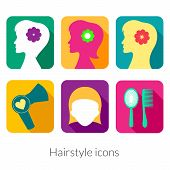 Hairstyle rectangular icons with rounded corners in flat style