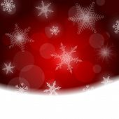 Christmas background - red with white snowflakes