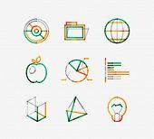 Minimal thin line design web icon set, universal logotypes