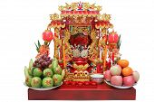 Chinese Spirit House Isolated On White Background, Joss House