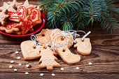 picture of christmas cookie  - Christmas cookies handmade lies on wooden background - JPG