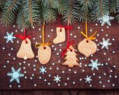 foto of christmas cookie  - Christmas cookies handmade lies on wooden background - JPG