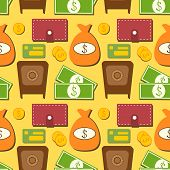 Finance seamless pattern with objects in flat style