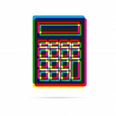 Calculator Icon With Shadow. Cmyk Offset Effect