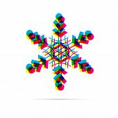 Snowflake Icon With Shadow. Cmyk Offset Effect