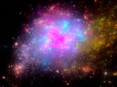 Multicolored Nebula In Deep Space