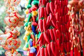 Chinese new year ornament in a traditional open market.
