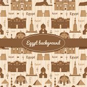 stock photo of ankh  - Landmarks of Egypt vector background in flat style with ribbon and label - JPG