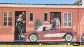 Route 66: Clark Gable,  Carol Lombard, and  Corvette Mural, Blue Swallow Motel, Tucumcari, NM