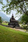 BORGUND, NORWAY - JULY 15, 2014: Borgund Stave Church, Sogn og Fjordane County.
