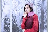 picture of cough  - Portrait of lovely girl wearing a warm clothes and coughing at tissue at home - JPG