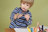 Kids Arts And Crafts Activity Child Learning To Cut With Scissors