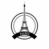 an isolated label with a black silhouette of the eiffel tower