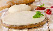 Pizza Dough With  Fresh  Basil