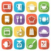 Trendy flat kitchen and cooking icons. Vector