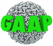 GAAP acronym or abbreviation letters on 3d ball or sphere of numbers to illustrate generally accepted accounting principles