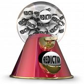 Prediction word on gumballs in machine or dispenser to illustrate a prophesy from a fortune teller or someone predicting the future
