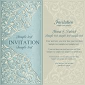 Orient invitation, blue and beige