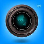 Creative camera lens and world map sign