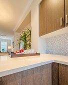 Fragment of modern, bright, clean, kitchen interior in a luxury house